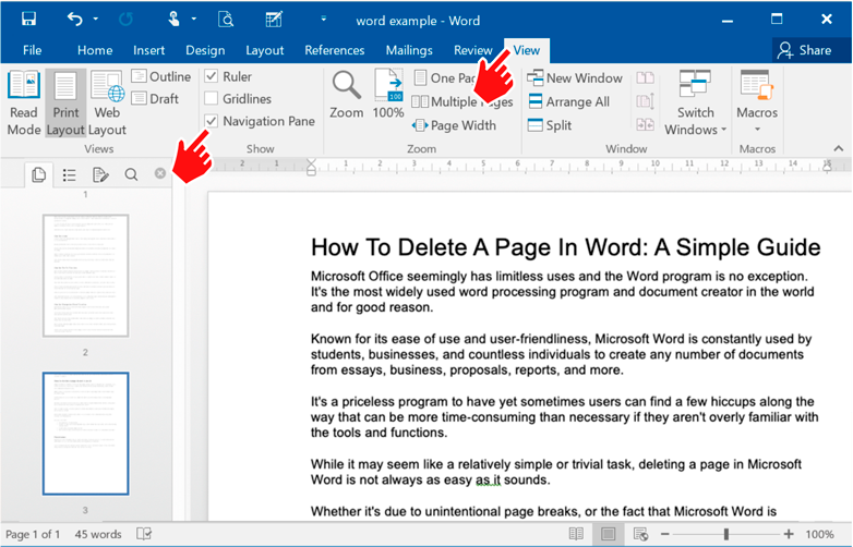 How To Delete A Page In Word  - navigation page